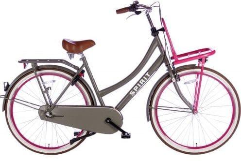 spirit-cargo-plus 28 inch Dames transportfiets grijs-roze-2895-500x450