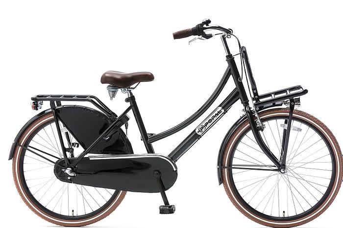 popal daily dutch plus 24 inch meisjes transportfiets zwart (glans)