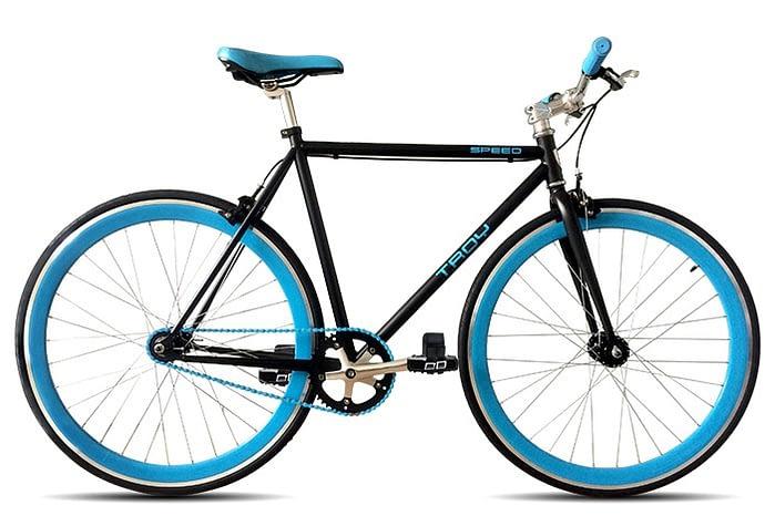 Troy speed fixedgear fiets zwart blauw