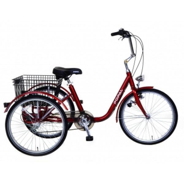 Popal Volwassen Driewieler fiets 24 inch rood 6 versnellingen