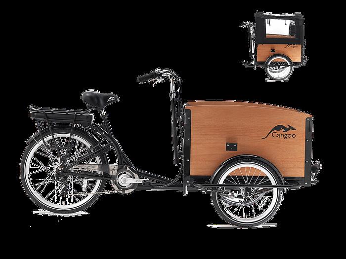 Cangoo Tour Elektrische Bakfiets E-bike Zwart-naturel