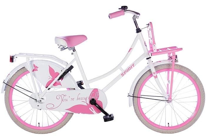spirit-omafiets 20 inch wit roze