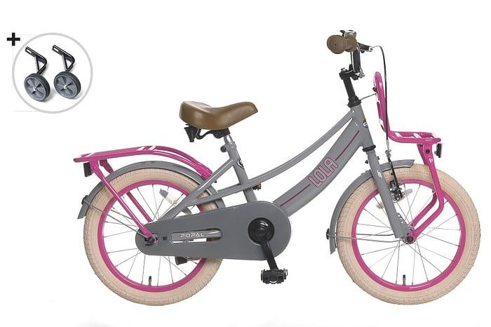 popal lola 16 inch meisjesfiets (licht) grijs roze