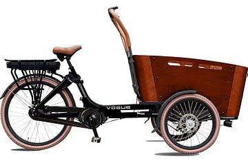 Vogue Carry 3 Elektrische Bakfiets Matzwart-bruin