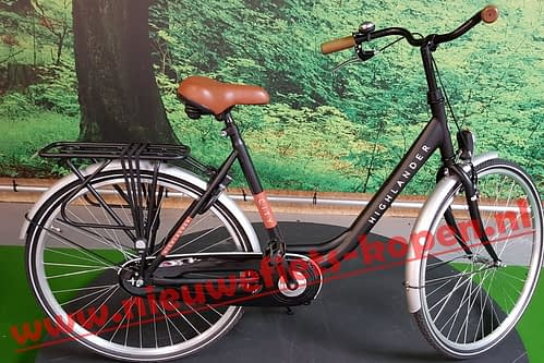highlander city damesfiets mat zwart 3