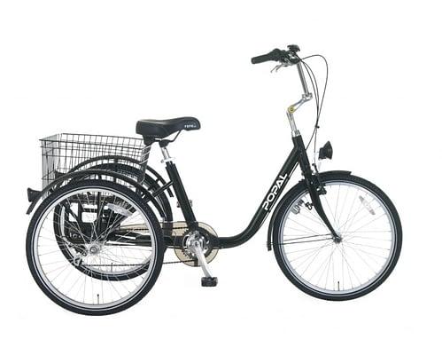 Popal Volwassen Driewieler fiets 24 inch Zwart 6 versnellingen