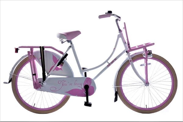 Static omafiets 24 inch Wit Roze