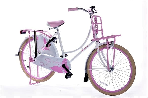 Static omafiets 24 inch wit roze 1