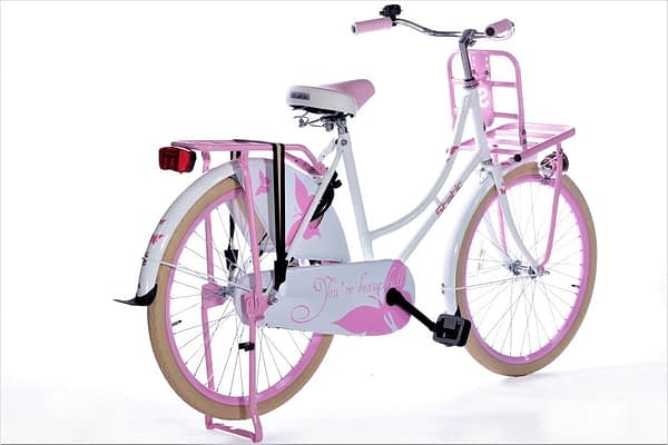 Static omafiets 24 inch wit roze 2