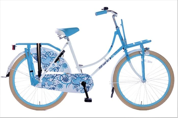Static omafiets 24 inch wit blauw
