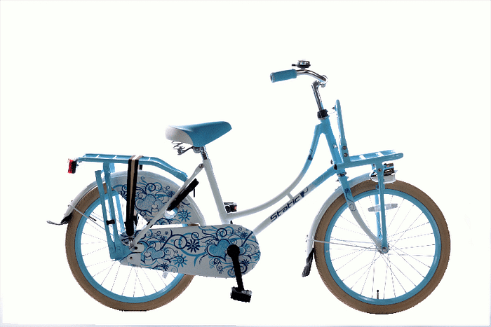 Static Omafiets 20 inch meisjes transportfiets wit-blauw