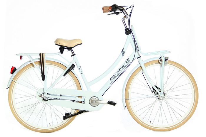 Static Q1 Transportfiets Damesfiets N3 versnellingen licht blauw 50cm 57cm