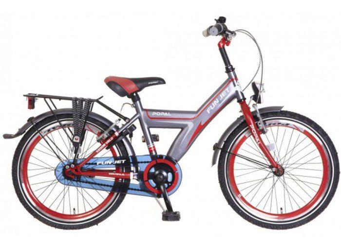 popal-fun-jet-jongens-fiets grijs Rood